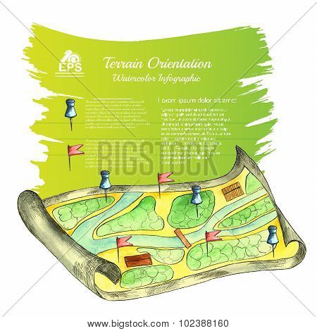 watercolor map with pins and fag with yellow green banner behind for your text