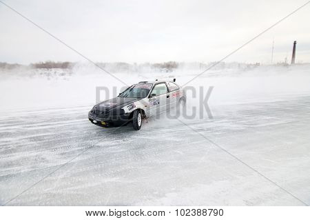 Khabarovsk, Russia - March 7, 2015: Honda Civic At Winter Ice Track Race