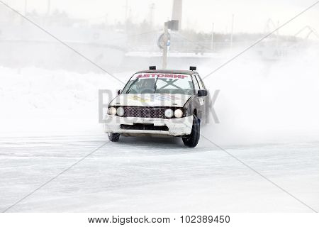 Khabarovsk, Russia - March 7, 2015: Old Car At Winter Ice Track Race