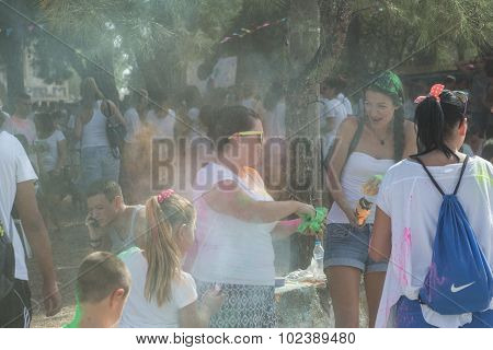 Participants at the 4th Colors day in Thessaloniki Greece. A recreation of the famous Holi festival