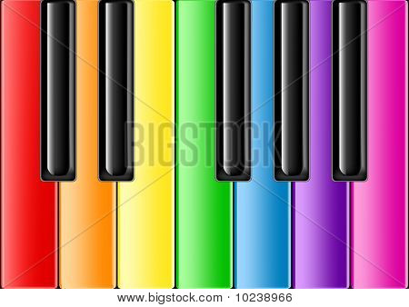 Classic Piano With Rainbow Keys