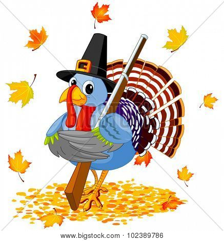 Illustration of cute Pilgrim turkey holds rifle
