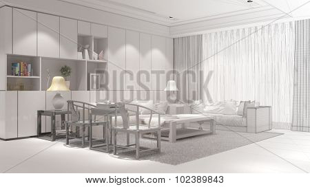 Room planning of living room with CAD wireframe mesh to 3D Rendering