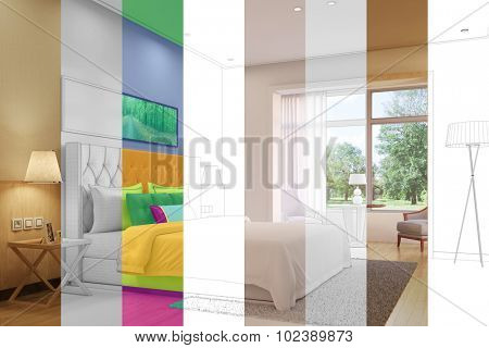 Variation mix of bedroom with different concepts in a room planner (3D Rendering)