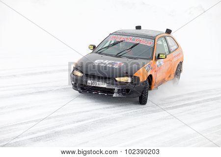 Khabarovsk, Russia - March 7, 2015: Mitsubishi At Winter Ice Track Race