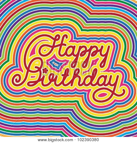 Happy Birthday lettering, vector calligraphy background