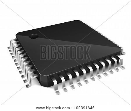 3D Microchip Isolated On White Background