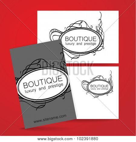 Boutique logo. Template design of corporate identity for the prestigious high-end salon,  brand, restaurant, store, spa and etc.