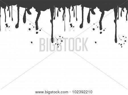 Black blood splatter isolated on white