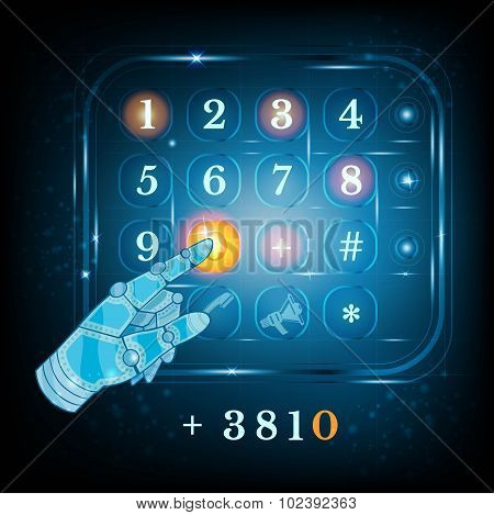 virtual phone keyboard or keypad and hand pointer. Dialing