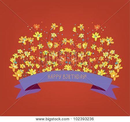 Happy Birthday Floral Card - Bright Design