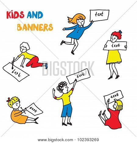 Kids And Banners Sketches Set