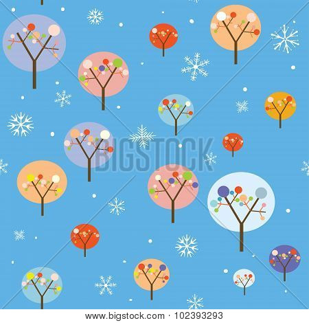 Christmas Seamless Pattern With Trees And Snowflakes