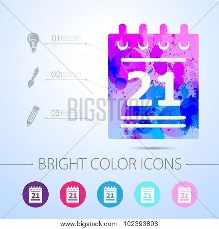 Vector calendar icon. with infographic elements