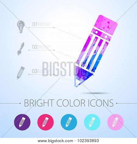 Vector pencil icon. with infographic elements