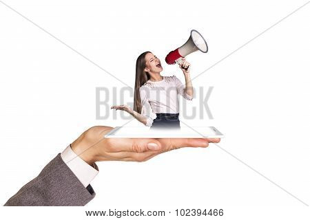 Open palm holds phone with girl .