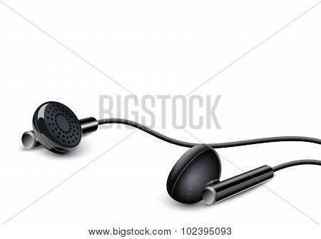 Earbuds On The White Background