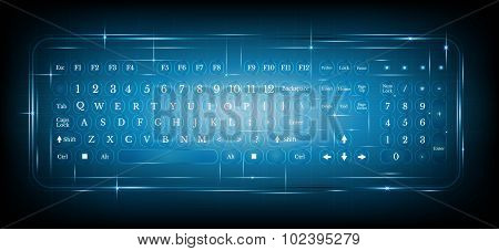 virtual shiny computer pc keyboard or keypad on blue background.dialing