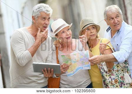 Group of senior people traveling in Europe