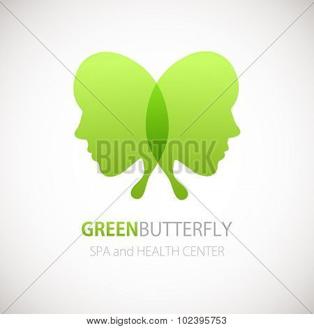 Vector illustration with Butterfly symbol. Two woman faces in a shape of butterfly wings. Logo design.  For beauty salon, spa center, health clinic