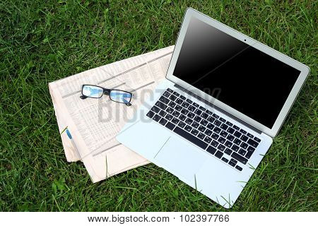 Laptop, newspaper and glasses on the green lawn