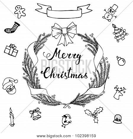 Hand-lettering Merry Christmas With  Hand Drawn Christmas Decoration