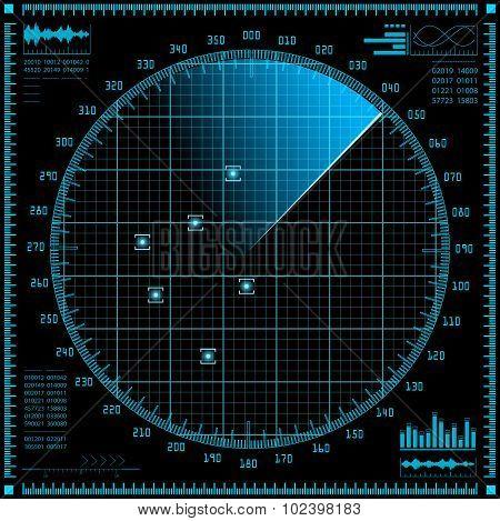 Blue radar screen. HUD interface.