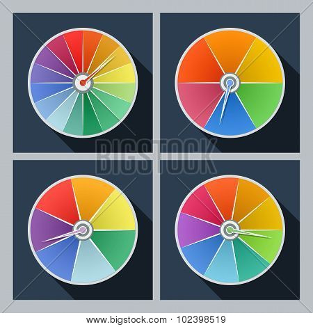 Set of four icons with color circles