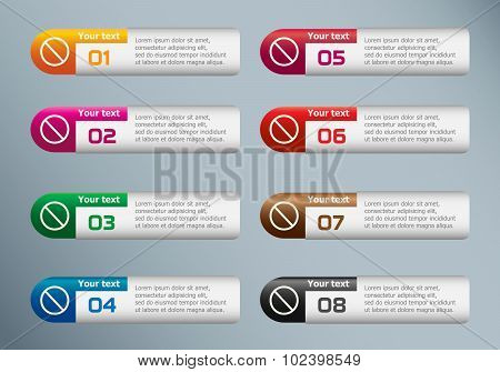 Sign Ban And Marketing Icons On Infographic Design Template.