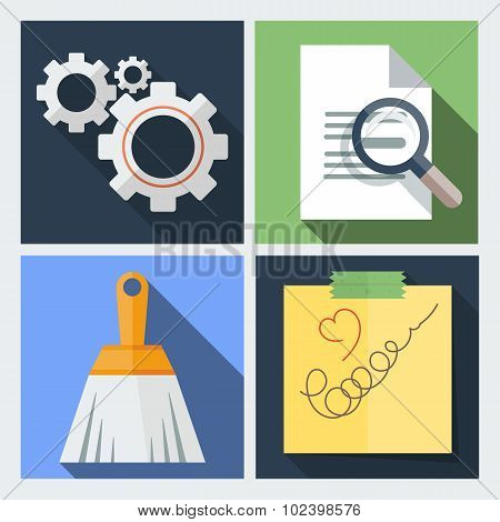 Set of icons flat with gears, a magnifying glass
