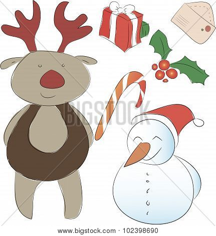 Set Of Elements For The New Year Or Christmas Decor. Assistant Santa Snowman And  Reindeer, Bows For