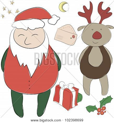 Set Of Elements For The New Year Or Christmas Decor. Santa Claus And His Deer   Helper, Bows For Dec