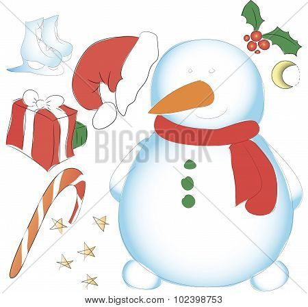 Snowman Hatless, Skating, Box And Other Decorative Elements. New Year Or Christmas Set For Decoratin