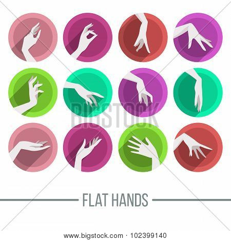 Set of icons in a flat style with a different image of female hands