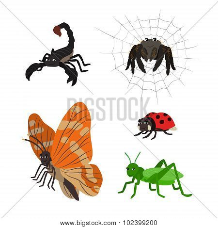 Cartoon set: scorpion spider butterfly ladybug grasshopper