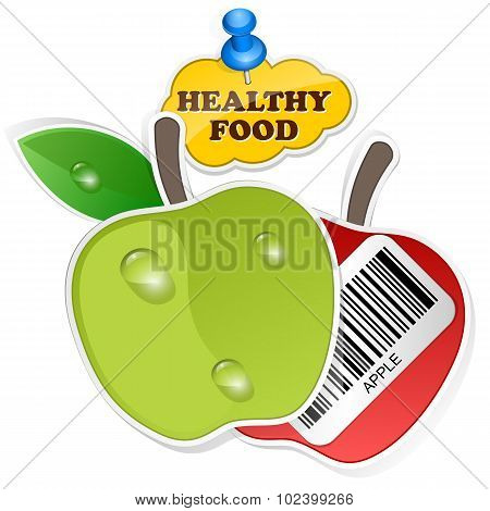 Apple Icon With Barcode By Healthy Food. Vector Illustration