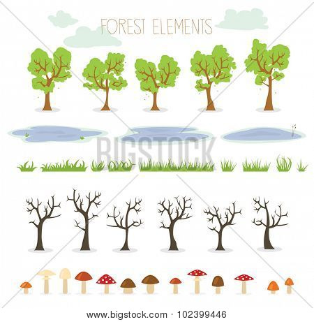 Collection of nature illustrations including trees, puddles, mushrooms and grass
