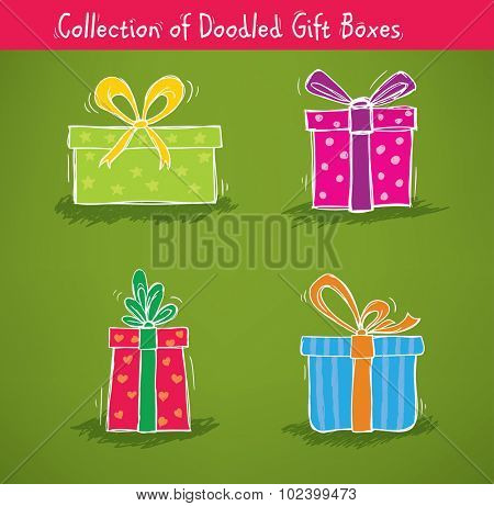Collection of gift boxes for birthday, christmas and other celebrations