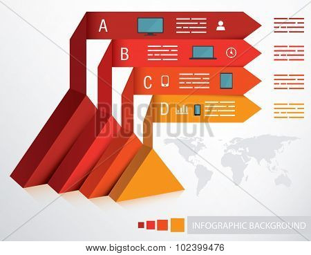 Presentation template with triangle base and four different options