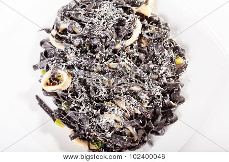 Black Tagliatelle With Squids