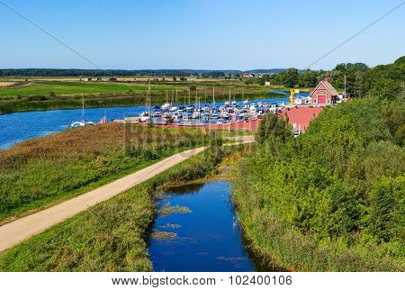 Aerial view of the wharf in Dreverna village. Lithuania