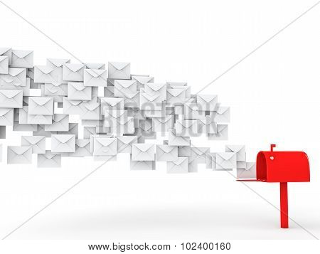3d spam mail and post box