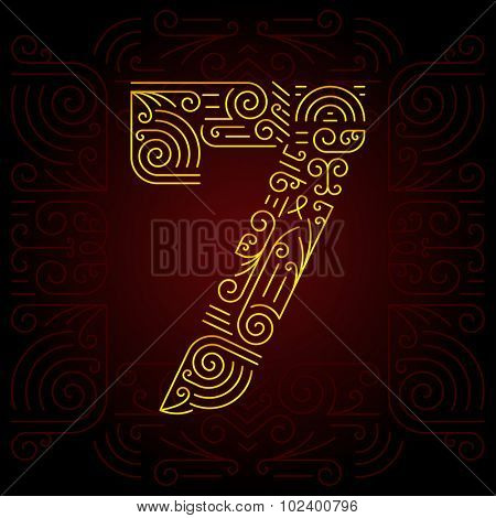 Vector Gold Mono Line style Geometric Font for Design Text. Golden Monogram Design elements for Invitation, Postcard or Advertising. Number 7
