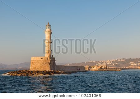 The Famous Lighthouse In Chania, Crete, Greece