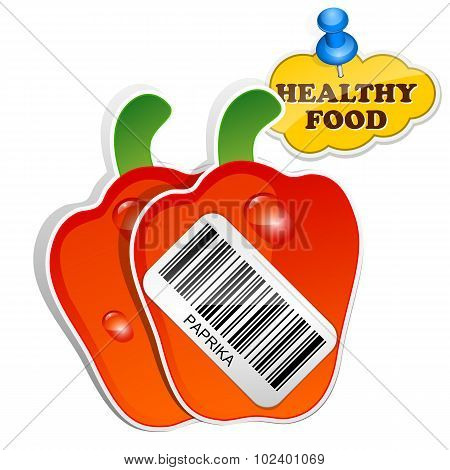 Icon Paprika With Barcode By Healthy Food. Vector Illustration