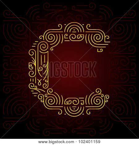 Vector Gold Mono Line style Geometric Font for Design Text, Slogan, Template or Advertising. Golden Monogram Design elements for Invitation, Postcard, Badges or Advertising. Letter C