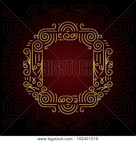 Vector Gold Mono Line style Geometric Font for Design Text, Slogan, Template or Advertising. Golden Monogram Design elements for Invitation, Postcard, Badges or Advertising. Letter O