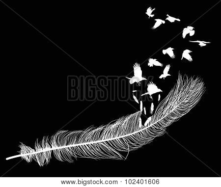 illustration with crows flying from feather silhouette isolated on black background