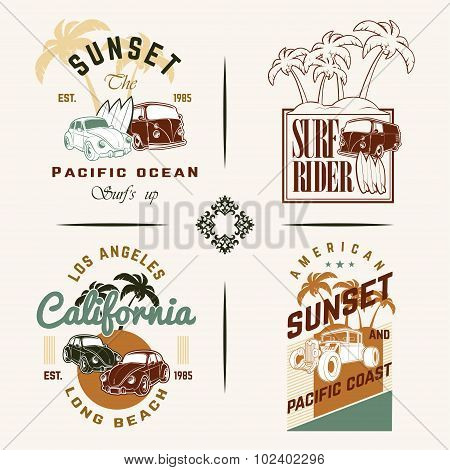 Set of Vintage Surfing Graphics and Emblems