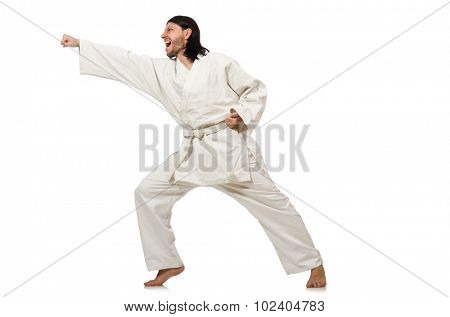 Karate fighter isolated on white